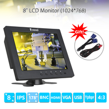Eyoyo S801C 8 inch LCD HD Screen Security CCTV Monitor 1024×768 with VGA BNC AV HDMI Ypbpr Input Display for VCD DVD PC