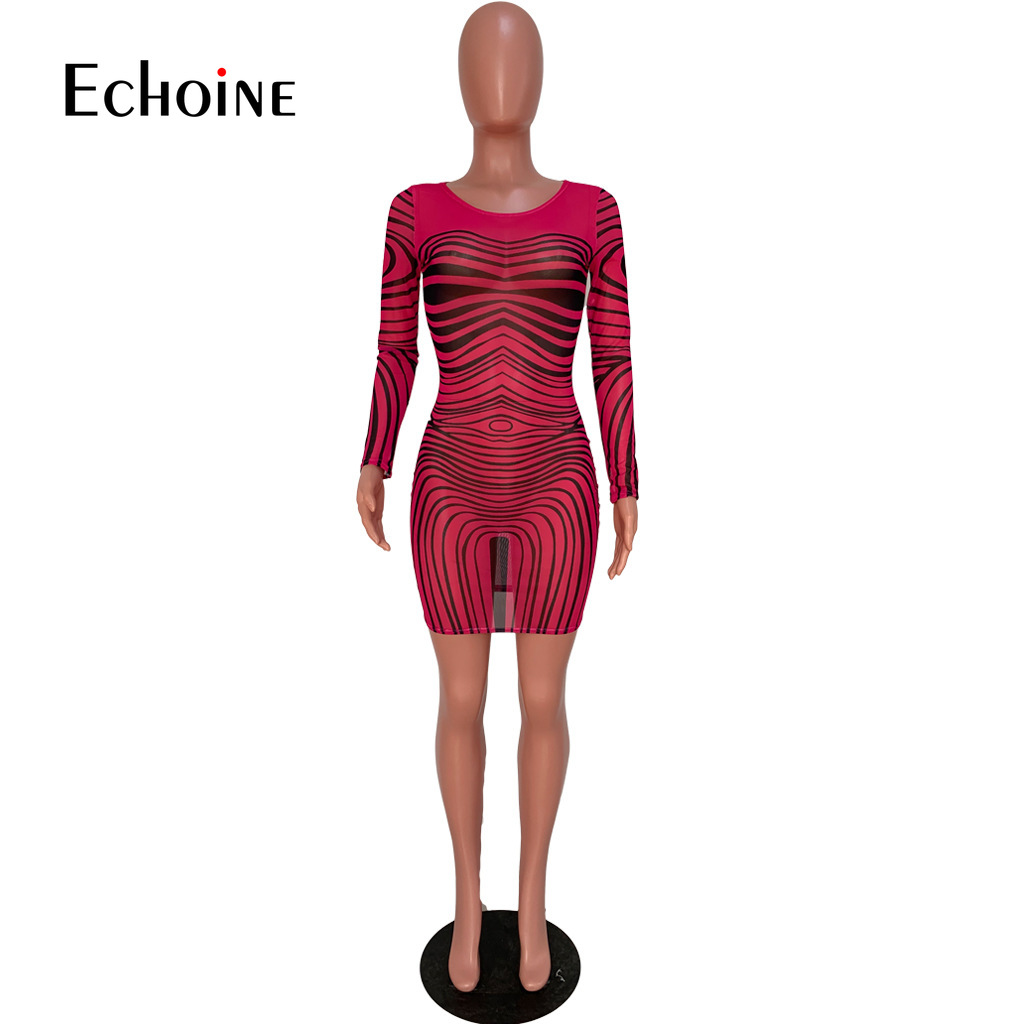 Summer Neon Green Rose Club Party Dress Stripe Mesh Patchwork Sexy Mini Dress Women O Neck Long Sleeve See Through Bandage Dress in Dresses from Women 39 s Clothing
