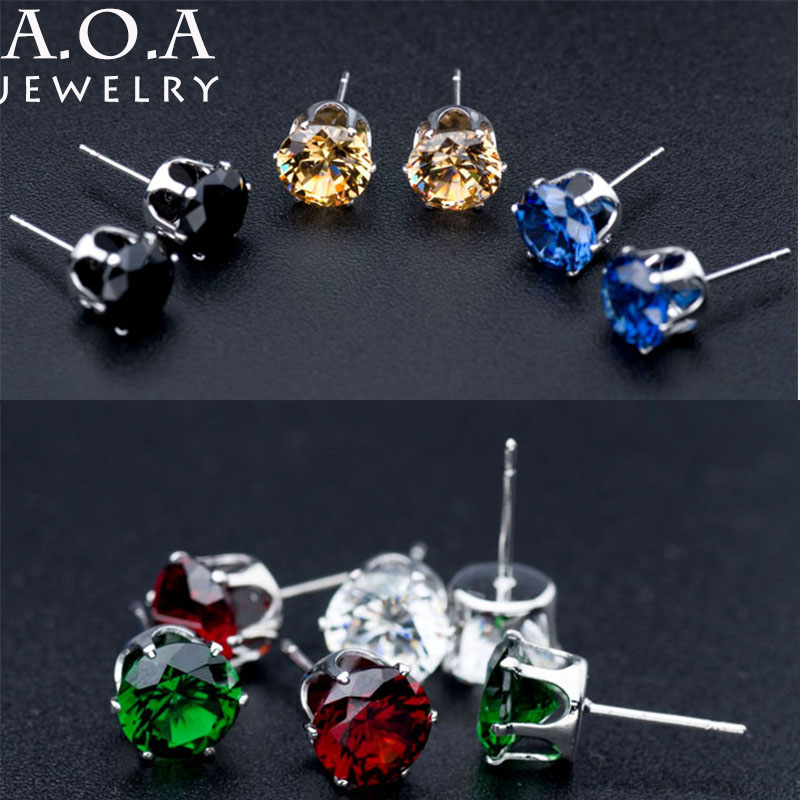 Top Quality Alloy Silver Gold-color Cute Earrings 8MM Cubic Zirconia Stone Stud Earrings Pendientes