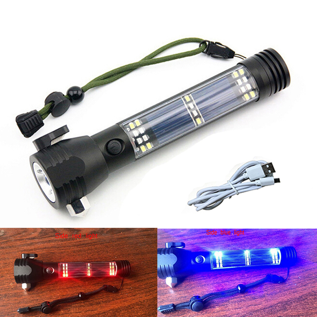 4000LM Rechargeable Multifunction Emergency Torch Lamp USB Power Bank Led Solar Flashlight With Safety Hammer Compass Magnet