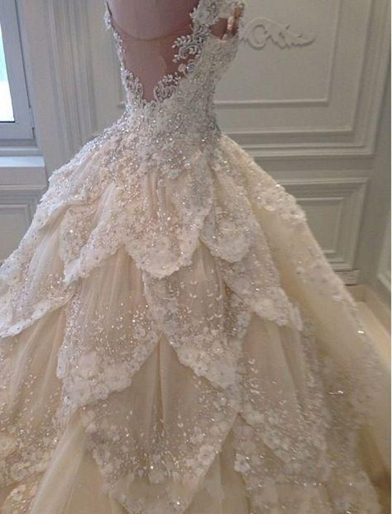 Luxury Michael Cinco Wedding Dress A Line Applique Beaded Wedding ...