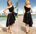 2016 Fashion Crystal One Shoulder Black Sexy Short Summer Cocktail Party Dresses abiye elbise Dress