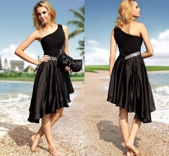 2016 Fashion Crystal One Shoulder Black Sexy Short Summer Cocktail Party Dresses abiye elbise Dress