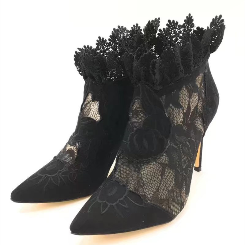 цена на Sexy Black Flower Embroider Summer Ankle Boots Lace Leather High Heel Mesh Women Shoes Back Zipper Elegant Party Women Pumps