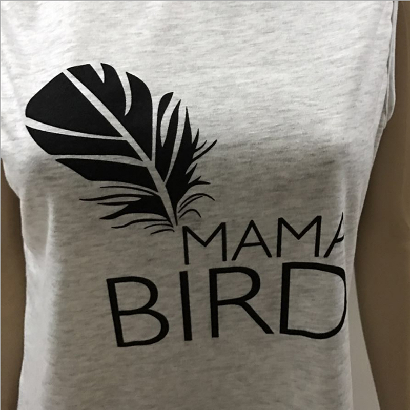 2018 Summer Loose T-Shirt Women Clothing Feather Printing Letters Tees Tops O-Neck Sleeveless Women Casual  T-shirt  IU801219