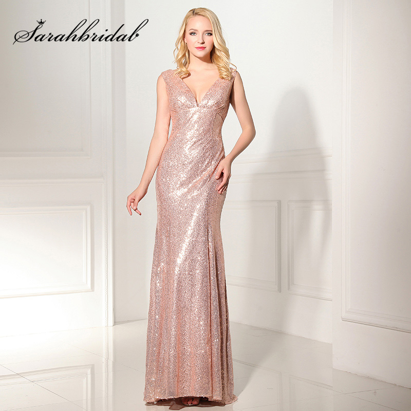 Real Pictures Shining V Neck Mermaid Evening Dresses 2019 Sequin Sleeveless Women Formal Special Occasion Party Gowns OS351-in Evening Dresses from Weddings & Events    1