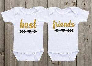 Personalizado glitter mejor amigo gemelo recién nacido bebé bodysuit onepiece traje pelele coming Home niño camisa fiesta favores