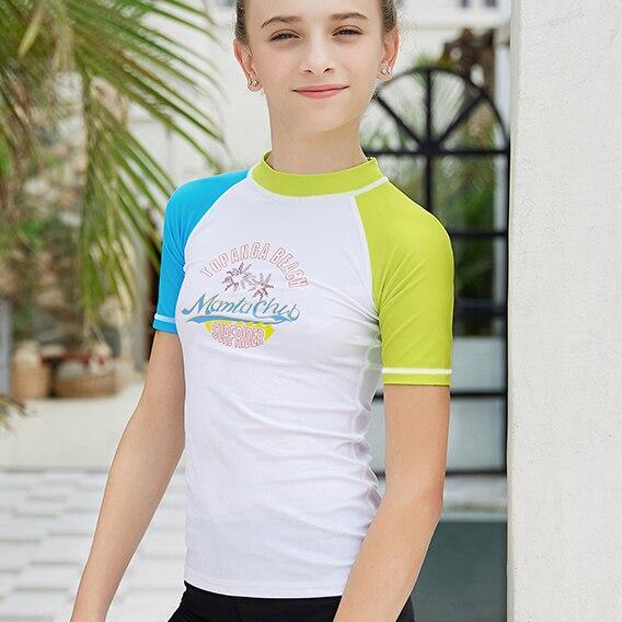 Sun Protection Swimming Shirts Children Rash Guard Quick Drying TIZAX Girls Long Sleeve Rash Vest Kids UPF50