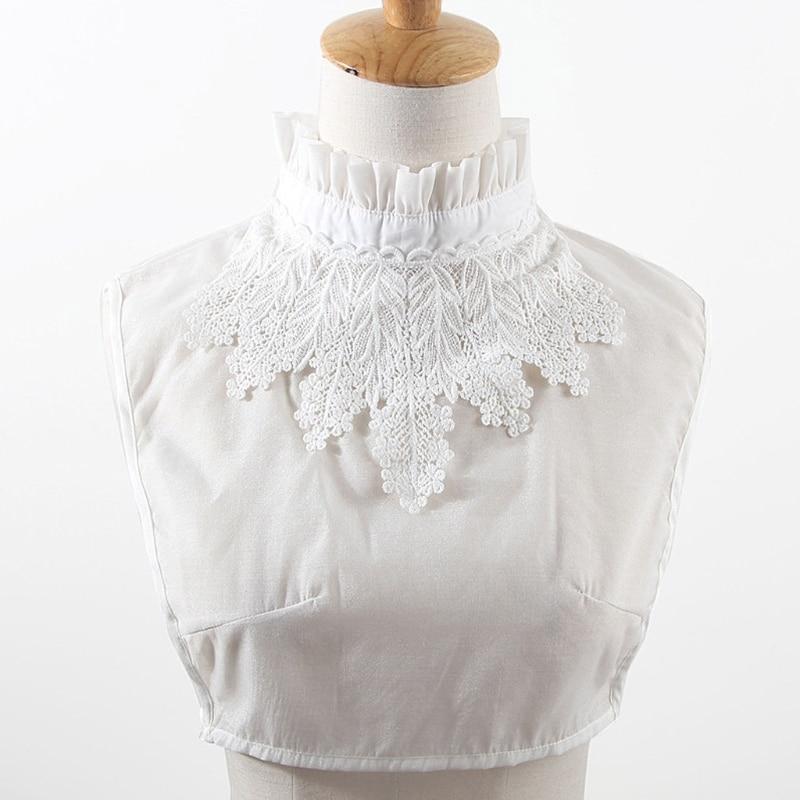 Lace Embroidery Neckstand Fake Collar Tie Detachable False Blouse Accessories