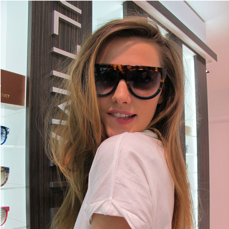 c0aa8356c59 Flat Top Shadow Brand Designer Fashion Celebrity Women Sunglasses Sun  Glasses Shield Lady Female Superstar Oversize Shades