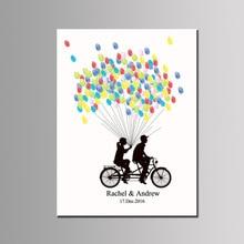 Индивидуальная Невеста и жених любителей велосипедов Свадьба оставить отпечаток пальца помолвка и Свадебное украшение имя, дата