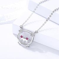 c7f34981a8a9 100 Pure 925 Silver Jewelry Female Lovely Pig Necklace Female Zircon Stone  Pendant Necklace For Women