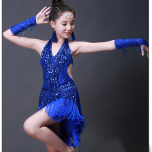 Girls Latin dance costumes childrens tassel sequins competition clothes performance clothing
