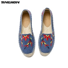 TINGHON Fashion Women Ladies Espadrille Shoes Canvas Embroidery Leaves flowers Rome Ankle Strap Hemps Flats