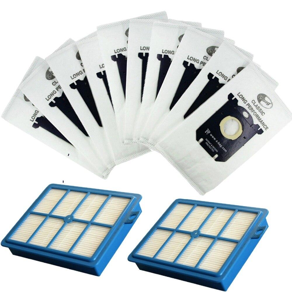 2 pièces filtre Hepa de remplacement H12 & 10 pièces sacs à poussière pour Electrolux Philips aspirateur filtre s-bag pièces accessoires