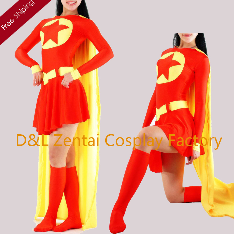 Free Shipping DHL Star Girl Zentai Super Hero High Elasticity Red Lycra Spandex Suit with Cape Halloween Costume SP1619