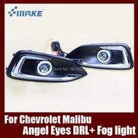 Туман сборки лампы светодиодный дневной свет удара Ангельские глазки Foglight Daytime Бег свет линзы бампер для Chevrolet Malibu 2015 2017