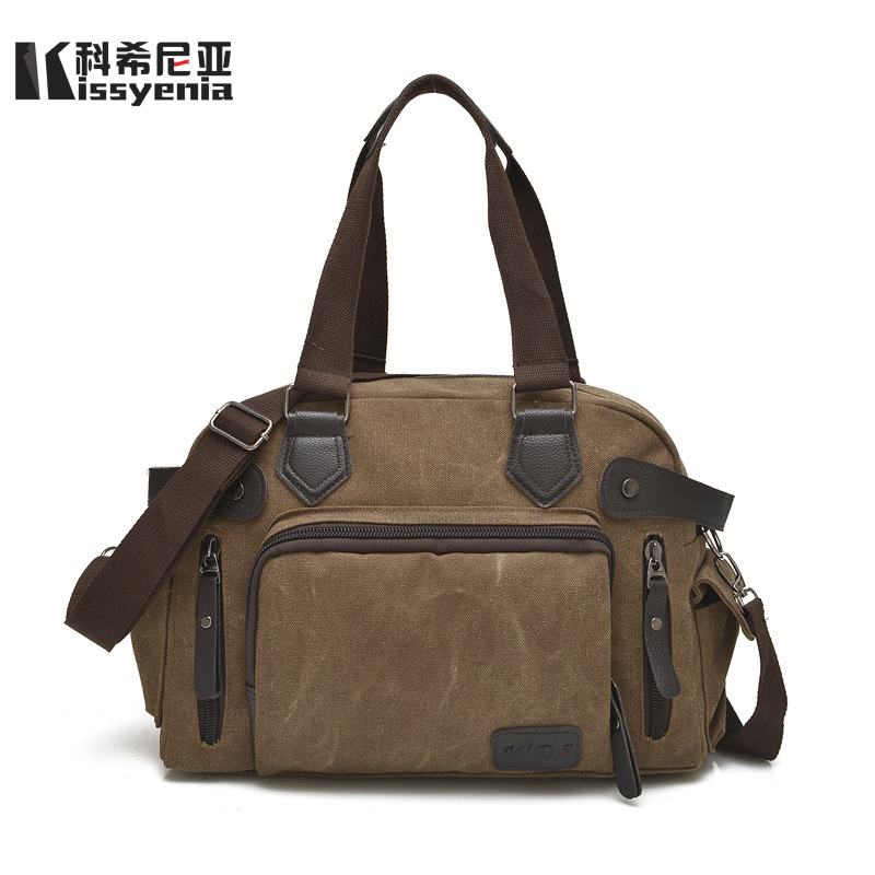 Kissyenia Canvas Travel Flight Bags Men 2018 Large Capacity Handle Shoulder Travel Duffle Vintage Overnight Use Bags KS1015