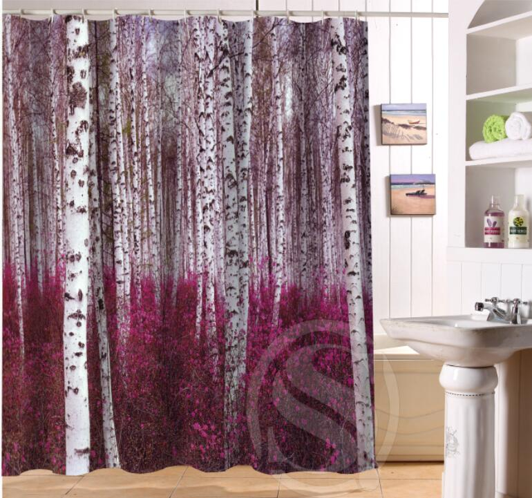 birch forest custom shower curtain bath curtain waterproof more size