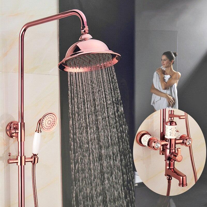 Античная Винтаж красный Медь розовое золото; круг Ванная комната дождь Насадки для душа дома Ванная комната продукта подъема керамические