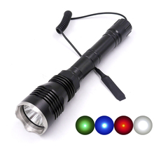 Long Version HS-802 CREE Green RED Blue White light 1-Mode (on/off) Hunting LED Flashlight Torch + Remote Switch