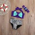 Дети купальники детей купальник девушки русалка купальный костюм симпатичные bikinis майо головные уборы лук детское плавание одежда набор