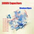 Frete Grátis 10valuesX10pcs = 100 pcs Kit Variedade 100PF 3KV Alta Tensão Capacitor Cerâmico 3000 V ~ 4.7NF Pack
