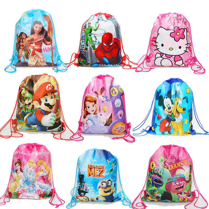 1pcs Carttoon Minnie/Mickey/Princess/Mario/unicorn/Spiderman drawstring bag kids school Backpack Travel Storage Package kid gift
