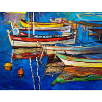 100% Hand Painted Modern Abstract Sailboats Art Painting On Canvas Wall Art Wall Adornment Pictures Painting For Live Room home