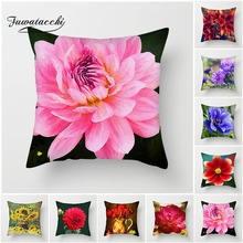 Fuwatacchi Flower Painted Cushion Cover Blossom Tulip Chrysanthemum Sundial Pillows Home Chair Decor Floral Pillowcases