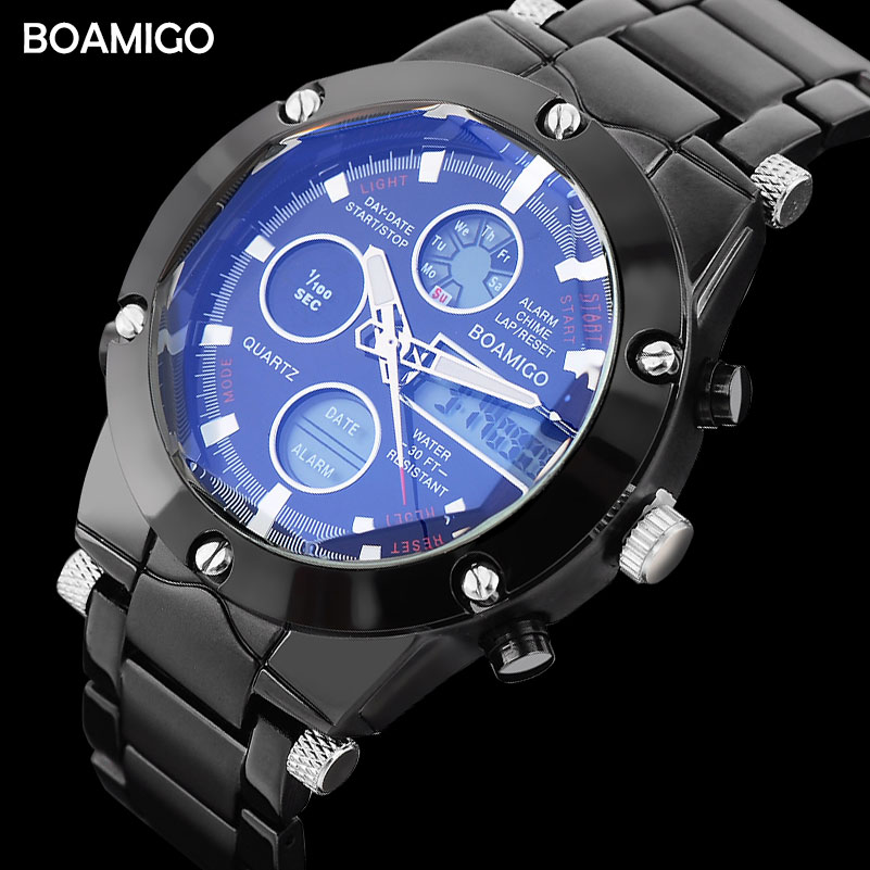 Men Sports Watches BOAMIGO Men Steel Watch Black Bracelet LED Digital Wristwatches Analog Quartz Watch gift clock Reloj Hombre 2016 new hot sale brand magic star black white analog quartz bracelet watch wristwatches for women girls men lovers op001