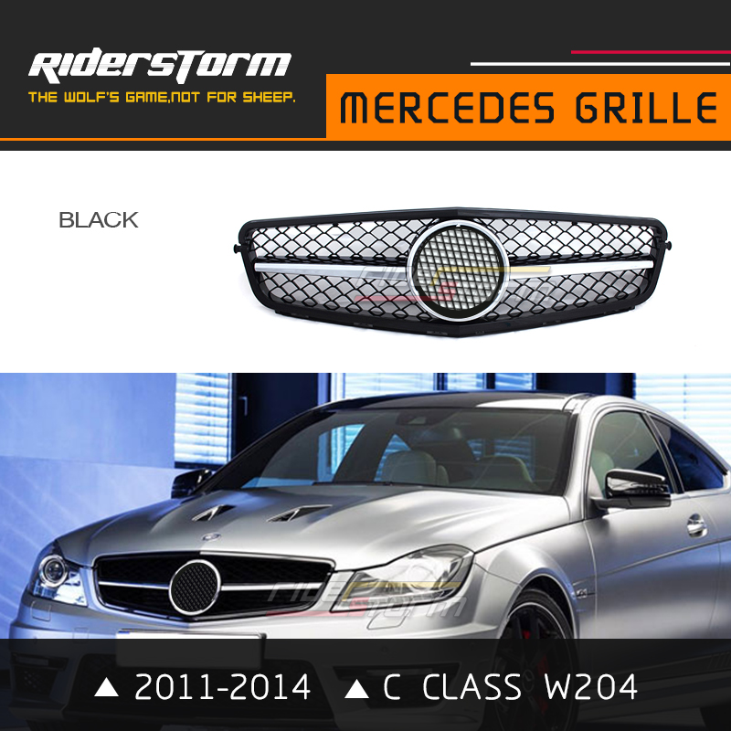 ABS Material One Slat Design Auto Front Center Grill Mesh Fit For Mercedes Benz C Class W204 C63 C180 C300 C250 2011-2014 pp class front car mesh grill sport style fit for benz w203 c 2000 2006