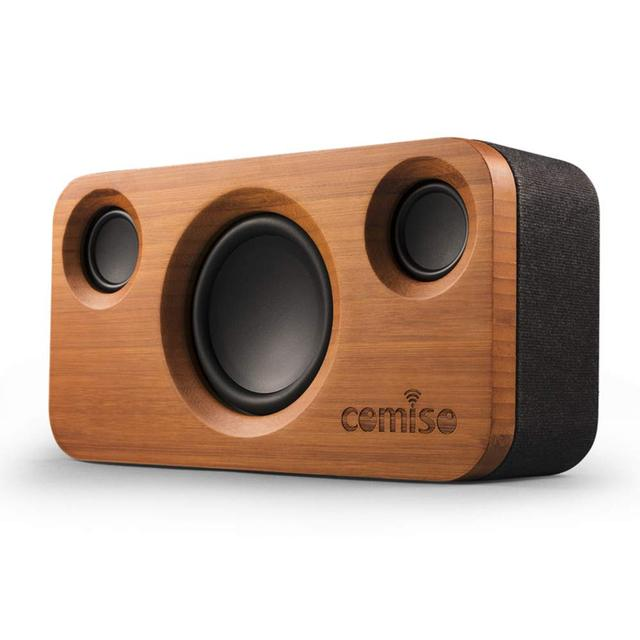 30W Bluetooth Speakers,Dual-Driver Wireless Bluetooth Home Bamboo Wood Stereo Speaker,Long Playtime for Echo Dot,