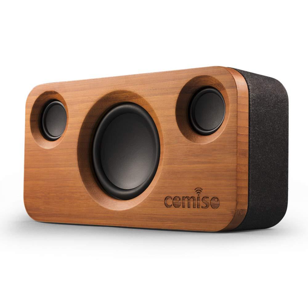 Haut-parleurs Bluetooth COMISO 30 W, haut-parleur stéréo en bois de bambou à la maison sans fil Bluetooth à double conducteur, longue période de jeu pour Echo Dot,
