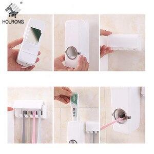 Image 4 - 1set Automatische Zahnpasta Spender Zahnbürste Halter Wand Halterung Zahn pinsel Lagerung Rack Organizer Badezimmer Zubehör Set