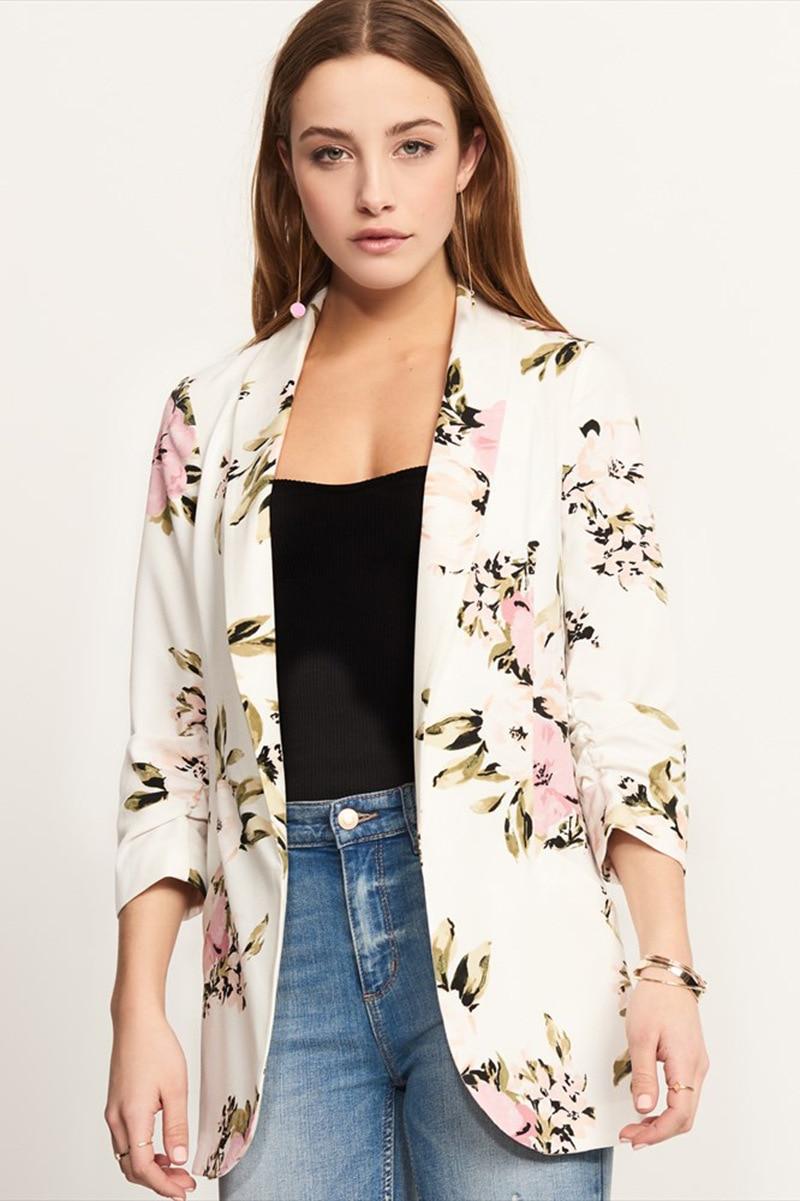 Wontive Elegant Blazer Women Floral Long Sleeve Blazer Notched Collar Coat Female Outerwear