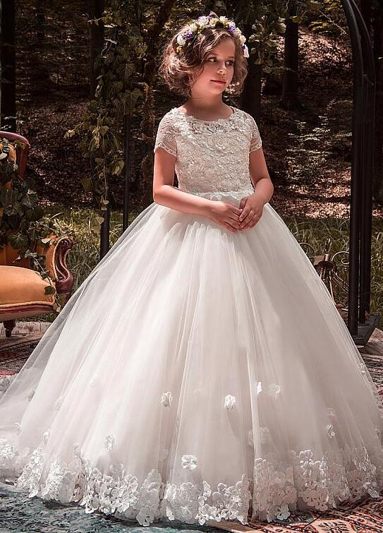 Wonderful Lace Scoop Neckline Flower Girl Dresses With Lace Appliques Beadings 3D Flowers Girls Dress Short Sleeves Ball Gown недорго, оригинальная цена