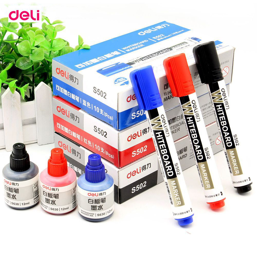 Deli School & Office Supplies Black Red Blue 2.0mm Dry Erase Markers Chancery Refilling Add Oil Ink Whiteboard Marker Pens