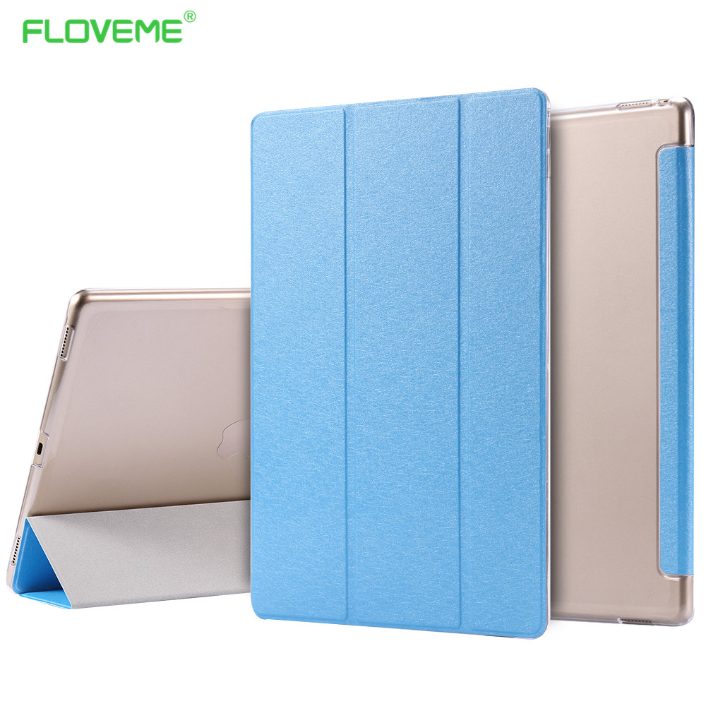 FLOVEME For iPad Pro 12.9 Smart Sleep Wake Case Flexible Stand PU Leather Protective Transparent Back Cover For Apple iPad Pro