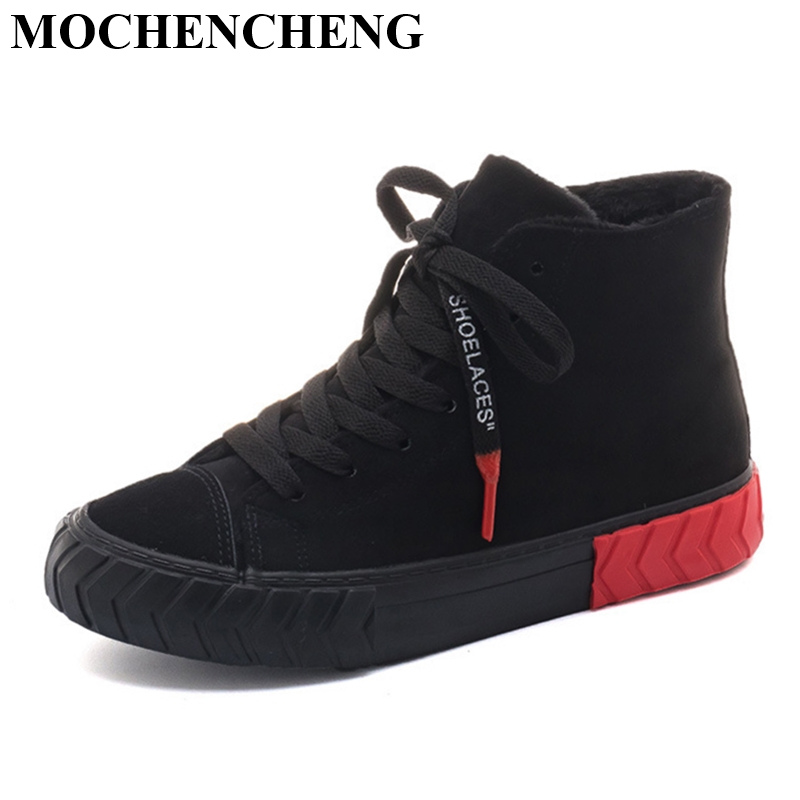 Ladies Flat Cotton Sneakers Winter Heat Fleeces Snow Boots Vogue Excessive High Lace-up Sneakers Scholar Informal Skate Footwear Anti-skid Ladies's Flats, Low cost Ladies's Flats, Ladies Flat Cotton Sneakers...