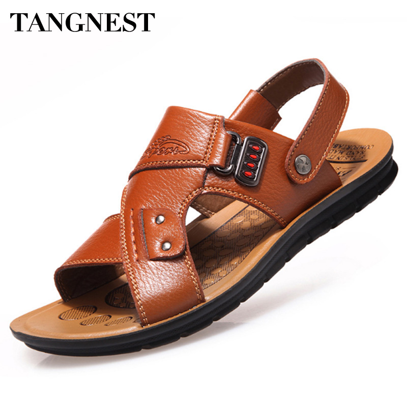 Tangnest Men Sandals 2017 Summer New Men Beach Slippers Pu Leather Slip-on Sandals For Man Casual Beach Shoes Size 38~44 XMT20