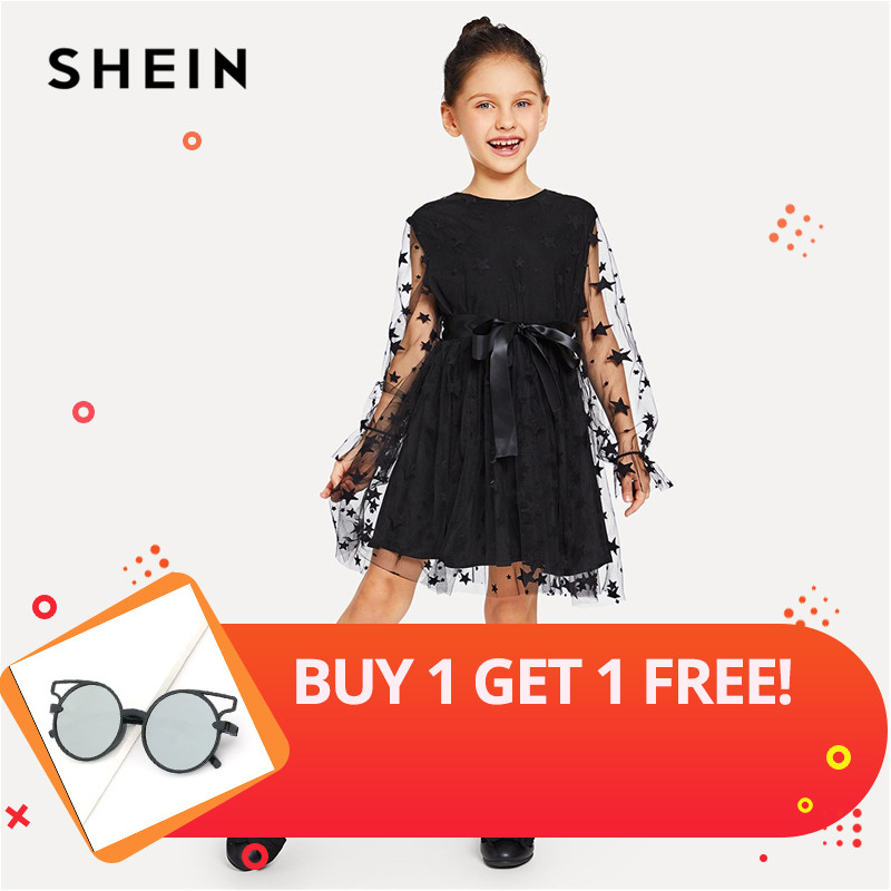SHEIN Black Geometric Print Mesh Insert Bow Flare Casual Dress Girls Clothing 2019 Spring Fashion Long Sleeve Zipper Girls Dress retro style v neck long sleeve ethnic print self tie belt dress for women