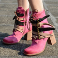 Punk Style Women Motorcycle Boots Side Zipper Buckles Ankle Boots Pink Casual Thick Heel Women Platform Pumps Botas Militares