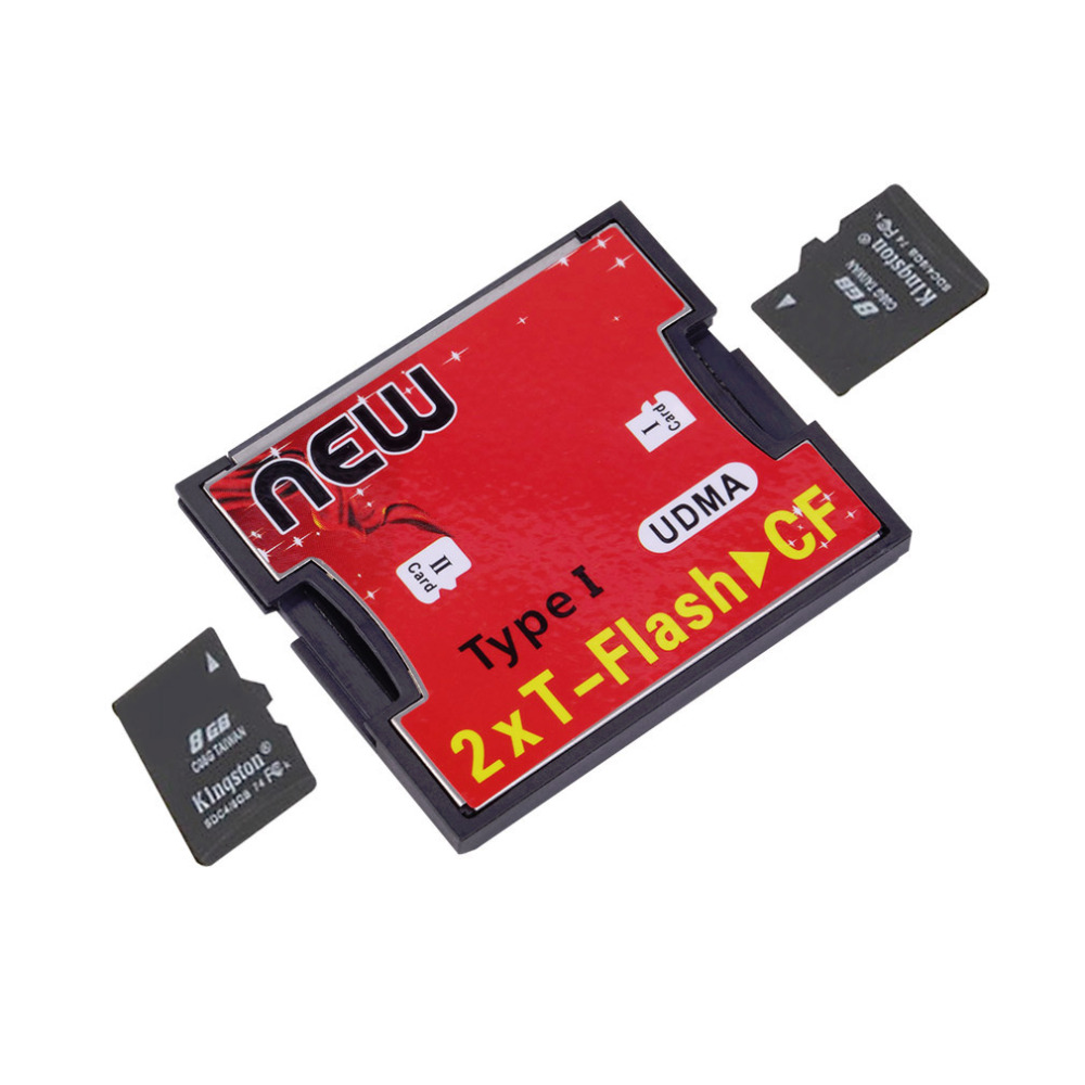 2017 Hot 2 Ports TF SDHC to Type I 1 Compact Flash Card CF Reader Adapter Wholelsae