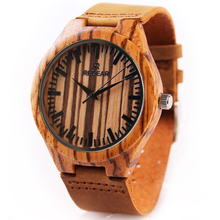 REDEAR New Zebra Vein Wood Watch Men's Wooden Watches Genuine Cowhide Leather Band Japan Quartz Movement Couple Watches P25