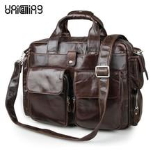 Brand quality real leather laptop handbag fashion vintage leather business bag briefcase luxury leather laptop messenger bag 15″