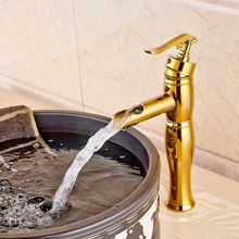 Modern Golden Single Lever Countertop Bathroom Vessel Sink Faucet Deck Mounted Mixer Crane Tap One Hole
