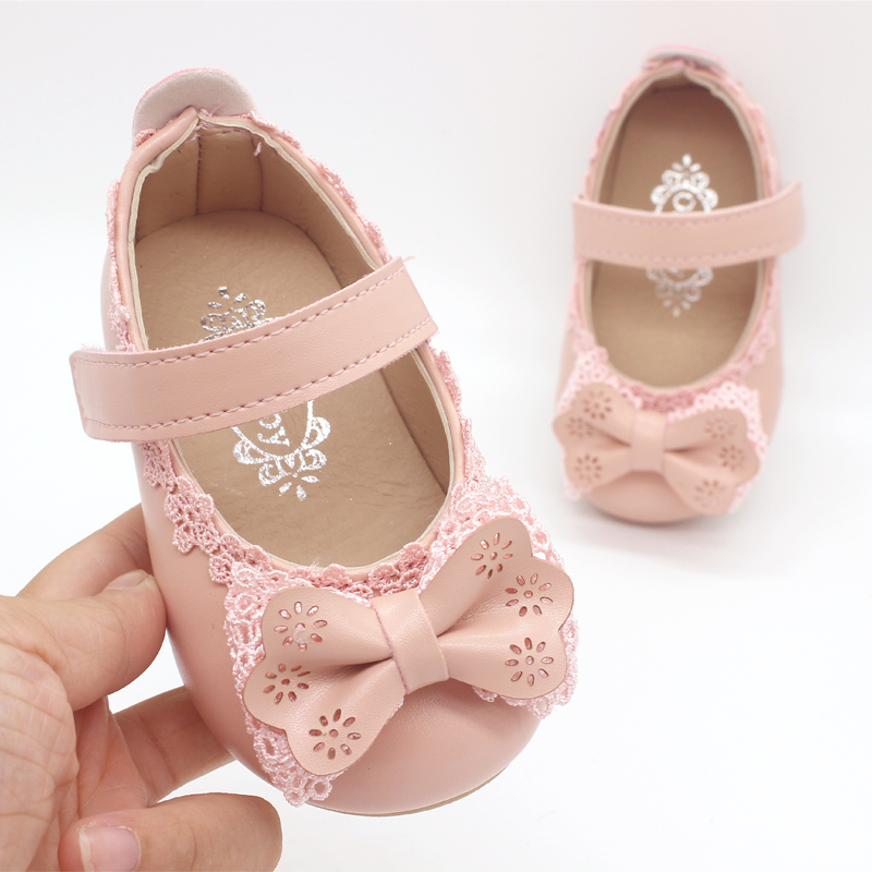 White Pink Baby Toddler Little Girl Bow Party And Wedding Dress Shoes For Girls Leather Shoes New 2018 Years 1 2 3 4 5 6 7 Years sleeveless v back toddler flower girl dresses for weddings and party gold and white pink mint green girls dress 6 to 7 years