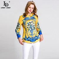 High Quality Printed Shirt Plus Size Women S Turn Down Collar Long Sleeve Summer Casual Blouse