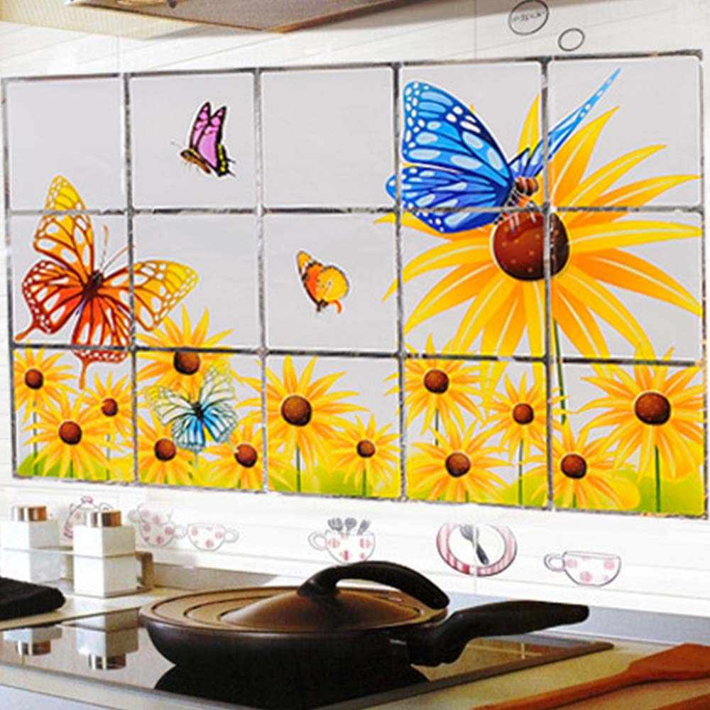 60*90cm Waterproof Anti-oil Stain Aluminum Foil Sticker Kitchen Cabinet Sticker Fruit Vegetable Pattern Wall Paper Home Decor